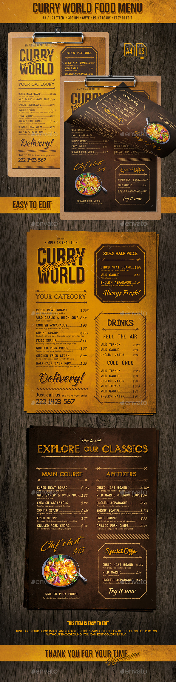 GraphicRiver Curry World Retro Single Page Menu A4 and US Letter 20914522