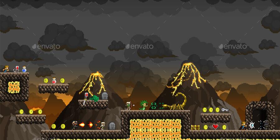 pixel art 2d platformer video game kit assets by space