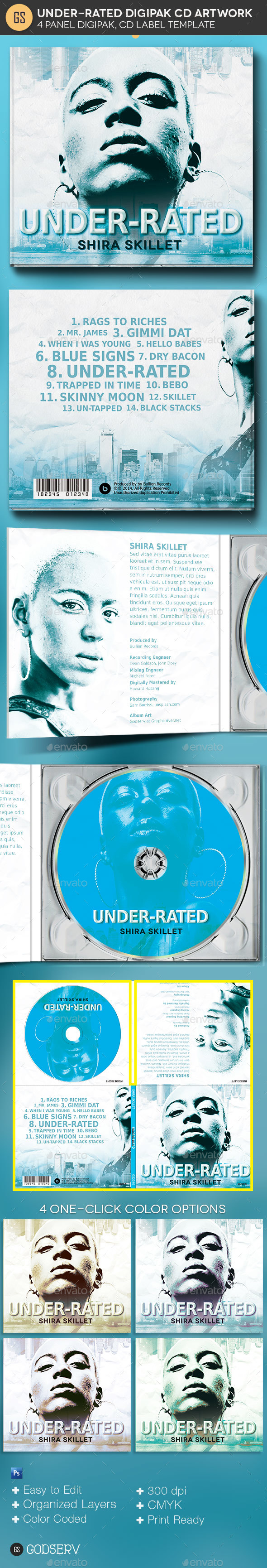 GraphicRiver Underrated 4 Panel Digipak CD Artwork Template 20914616