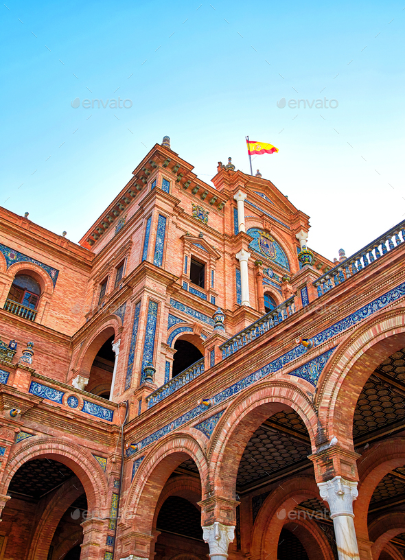 Fragment of central building of Spain Square - Stock Photo - Images