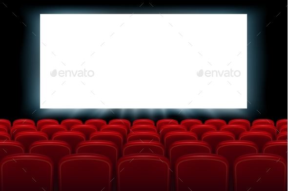 GraphicRiver Realistic Cinema Hall Interior with Red Seats 20915853
