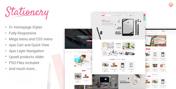 Stationery Responsive Magento Office Supplies Theme