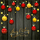 Christmas Balls and Stars on Black Wooden Background