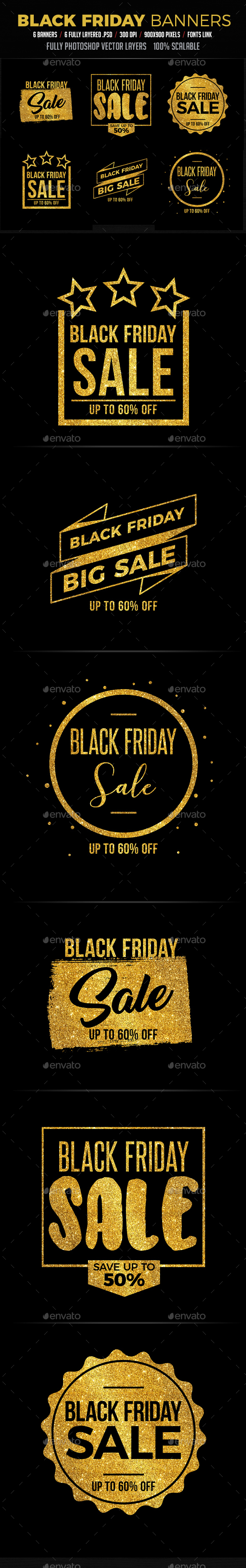 Black Friday Badges / Banners - Badges & Stickers Web Elements
