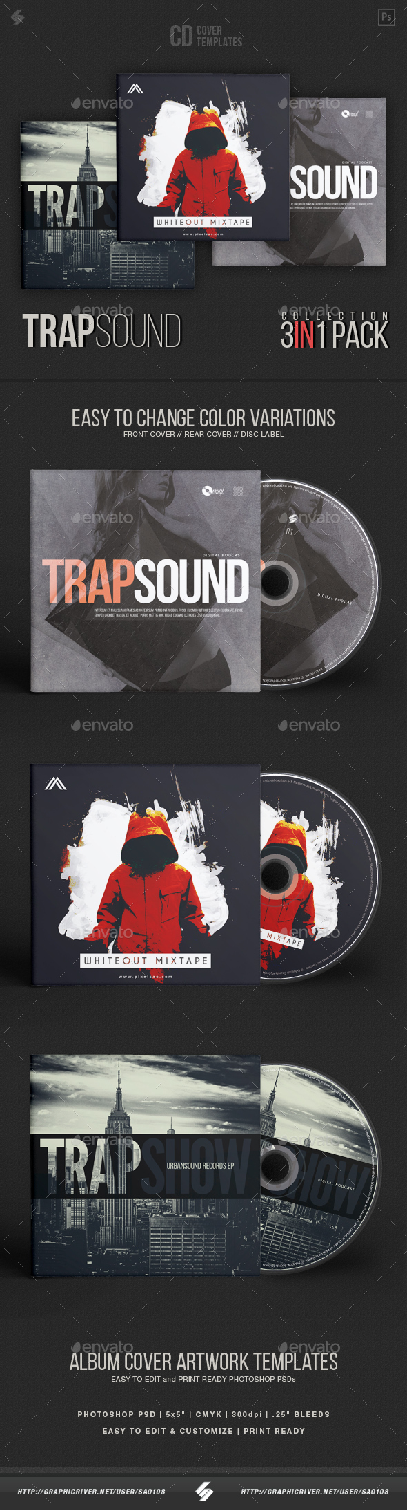 Trap Sound Collection - CD Cover Artwork Templates Bundle - CD & DVD Artwork Print Templates