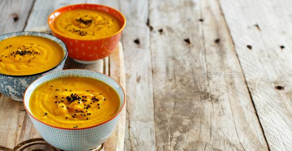 Fresh pumpkin soup - Stock Photo - Images