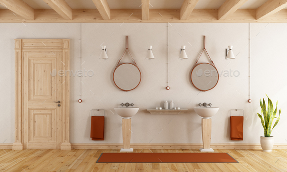 Classic bathroom with washbasins - Stock Photo - Images