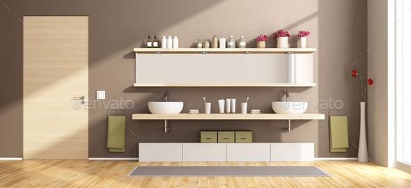 Modern bathroom with washbasins on wooden shelf - Stock Photo - Images