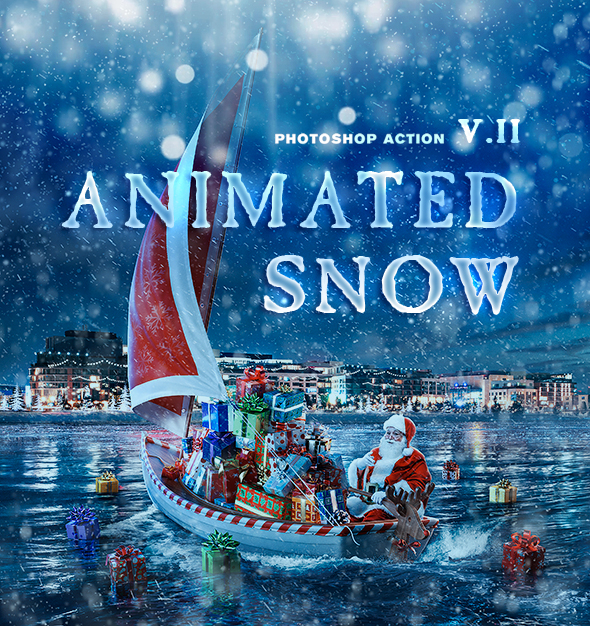 Animation Snow v2 Action - Photo Effects Actions