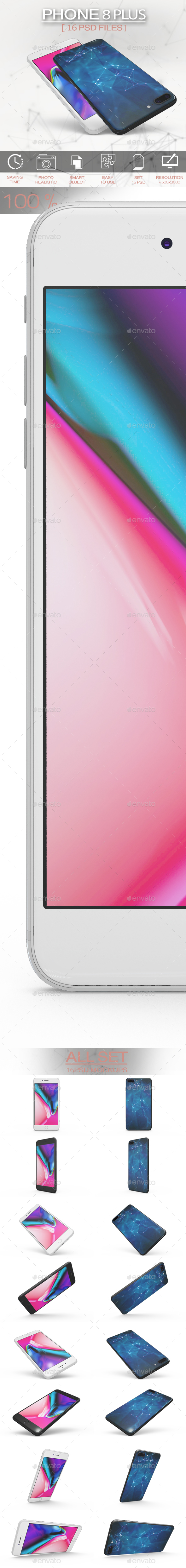 Phone 8 Plus MockUp App & Skin - Product Mock-Ups Graphics