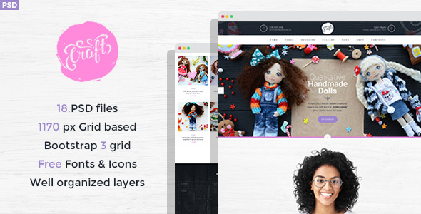 ThemeForest Craft Hobby and Crafts PSD Template 20842794