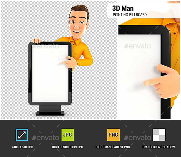 3D Man Pointing to Blank Billboard - Characters 3D Renders