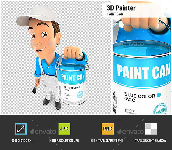 3D Painter Holding Paint Can - Characters 3D Renders