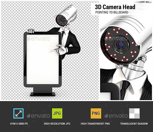 3D Security Agent with Camera Head Pointing to Blank Billboard - Characters 3D Renders