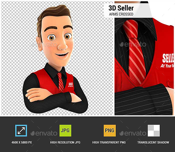 3D Seller with Arms Crossed - Characters 3D Renders