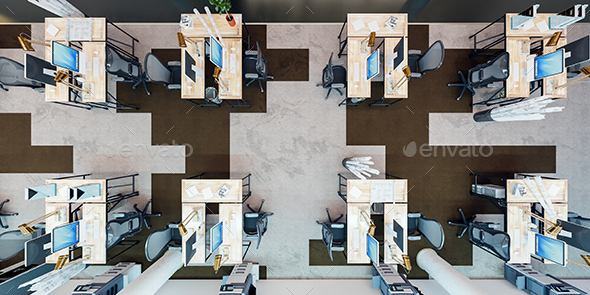 GraphicRiver Office Interior Top View 20917544