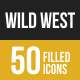 Wild West Filled Low Poly B/G Icons
