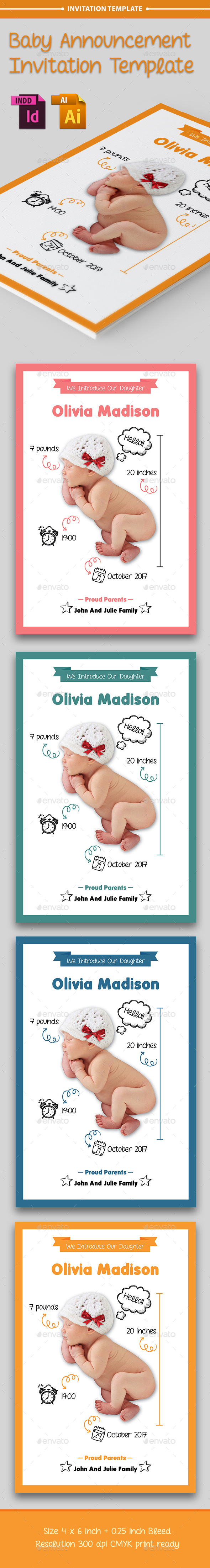 Baby Announcement Template - Vol.7 - Cards & Invites Print Templates