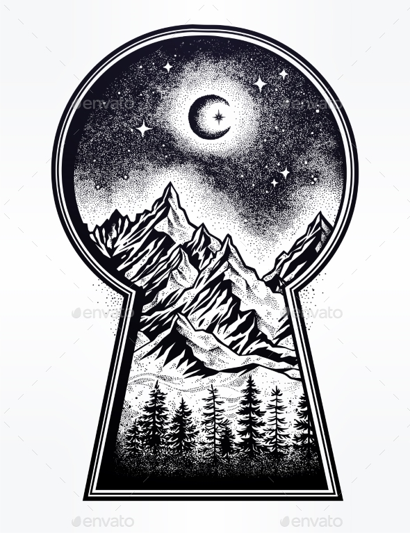 Keyhole with Nature Pine Forest Mountain Landscape - Landscapes Nature