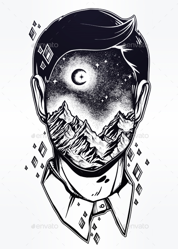 GraphicRiver Surreal Man Face Mountain Landscape Night Sky 20917729