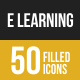 E Learning Filled Low Poly B/G Icons
