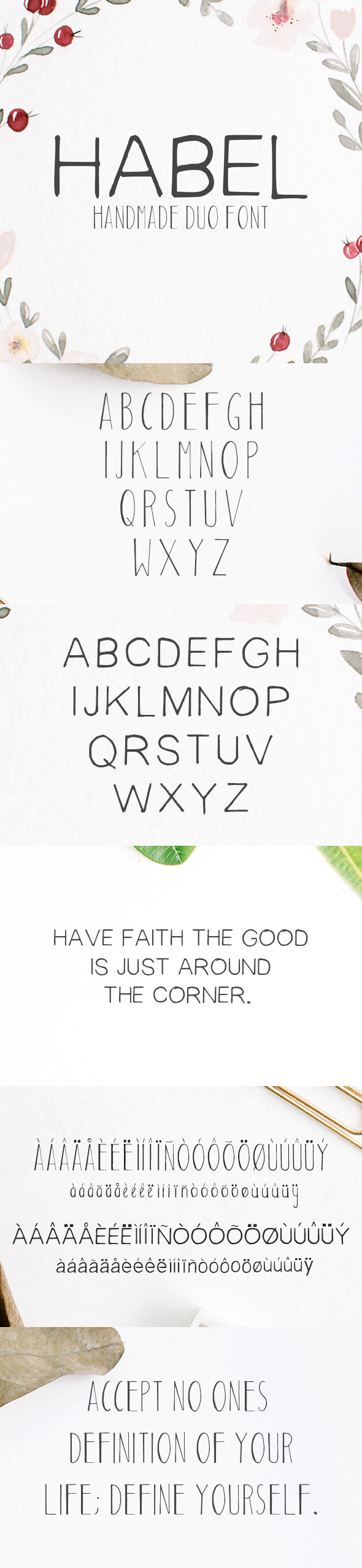 Habel Handmade Duo Font - Handwriting Fonts