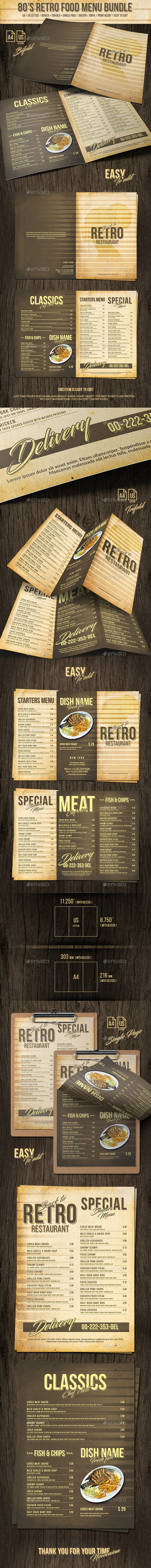 GraphicRiver 80s Retro Food Menu Bundle A4 and US Letter 20918057