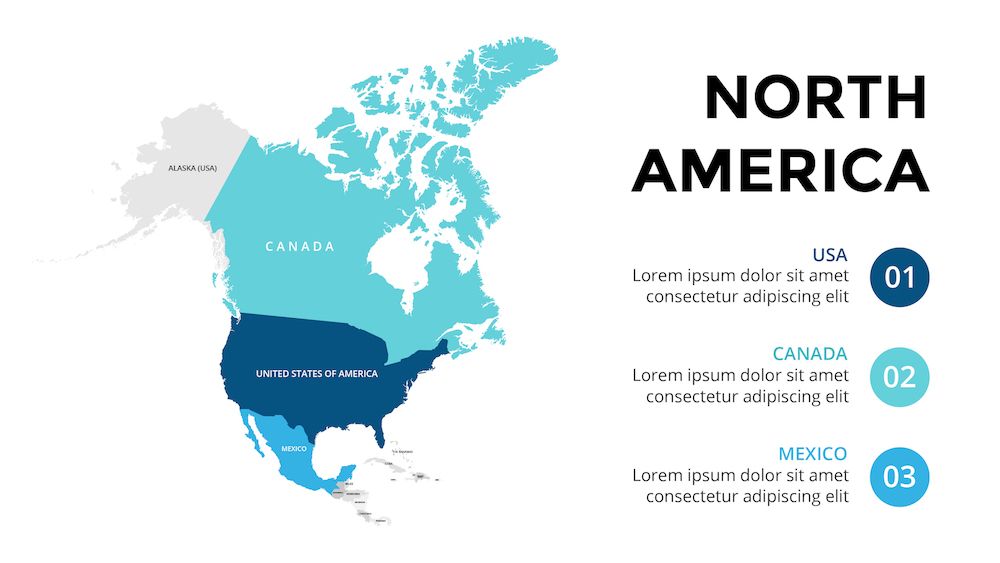 North America Map Powerpoint - Design Templates