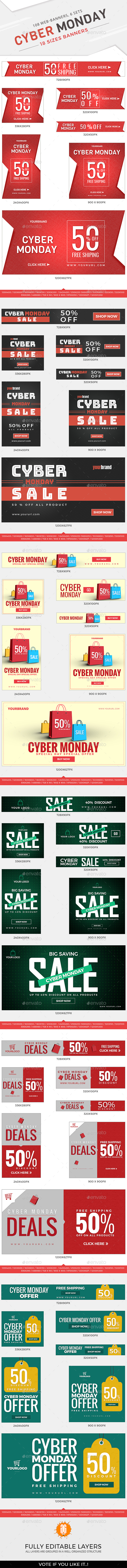 GraphicRiver 108 Cyber Monday Banners 20918179