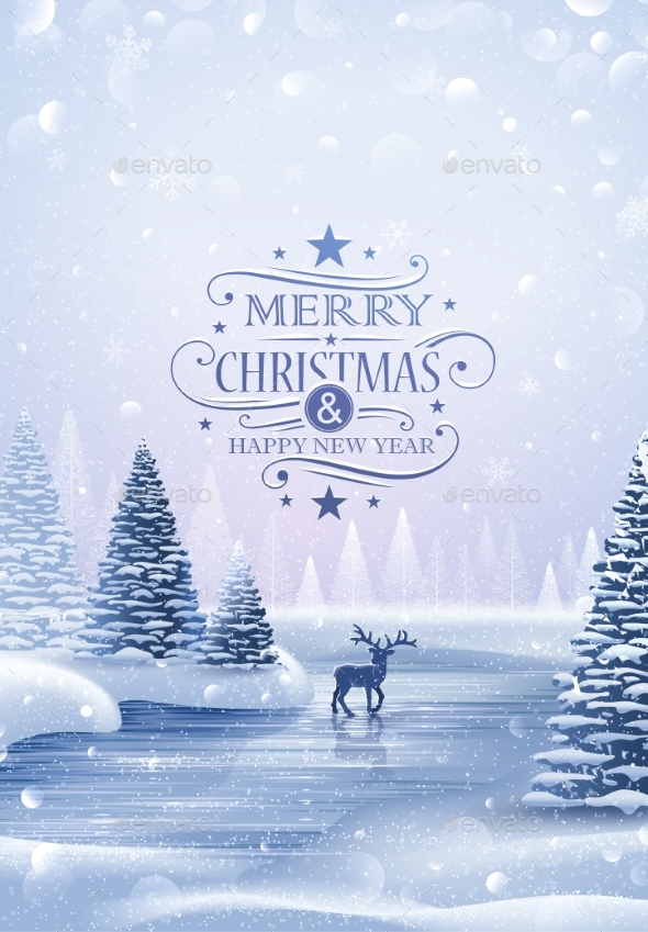 GraphicRiver Christmas Card with Reindeer and Snowflakes 20918209