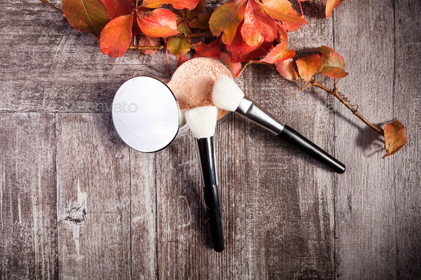 Professional cosmetics make up prducts in autumn concept on dark wooden background - Stock Photo - Images