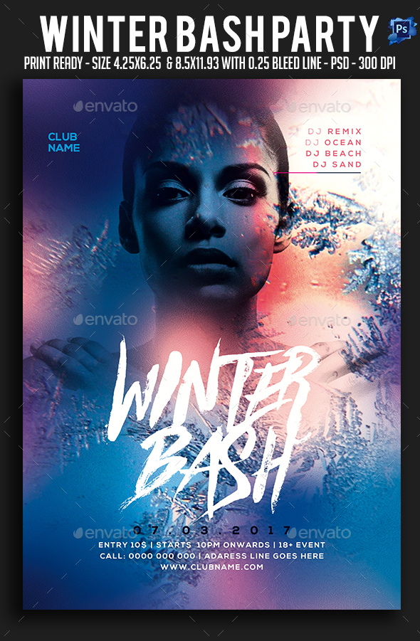 Winter Bash Party Flyer - Clubs & Parties Events