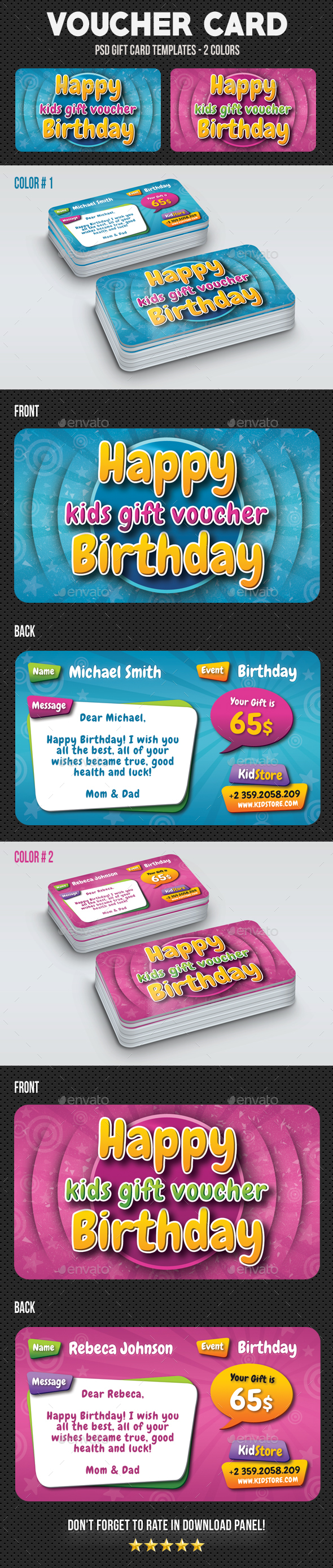 Kids Birthday Voucher Card - Birthday Greeting Cards