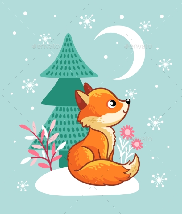 GraphicRiver The Fox Sits in a Snowy Glade Near the Tree 20918492