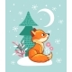 The Fox Sits in a Snowy Glade Near the Tree