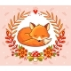 Vector Greeting Card with a Fox