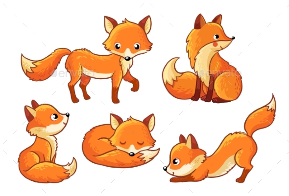 GraphicRiver Set of Cartoon Foxes in Cartoon Style 20918509