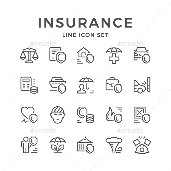 Set Line Icons of Insurance - Man-made objects Objects