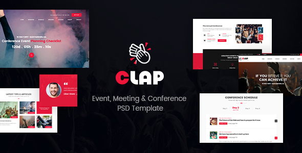 Clap – Event, Meeting & Conference PSD Template