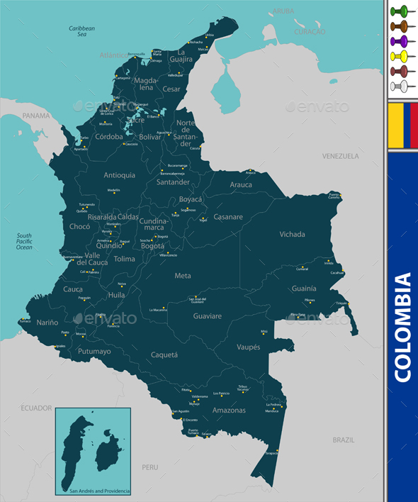 Map of Colombia - Travel Conceptual