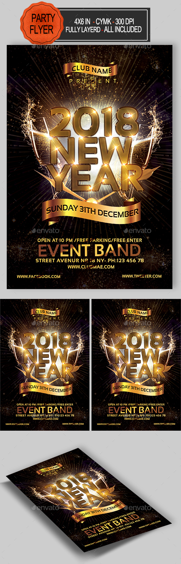 GraphicRiver New Year Party Flyer 20918779