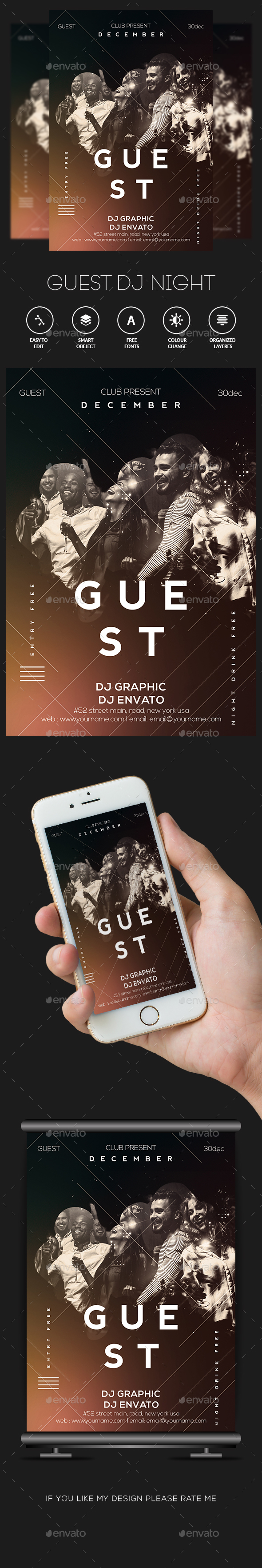 Guest DJ Poster / Flyer - Clubs & Parties Events