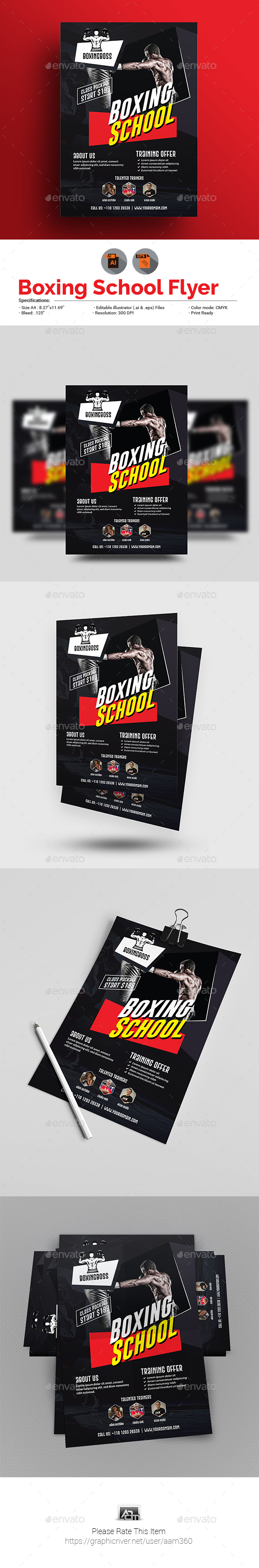 GraphicRiver Boxing School Flyer Template 20918866