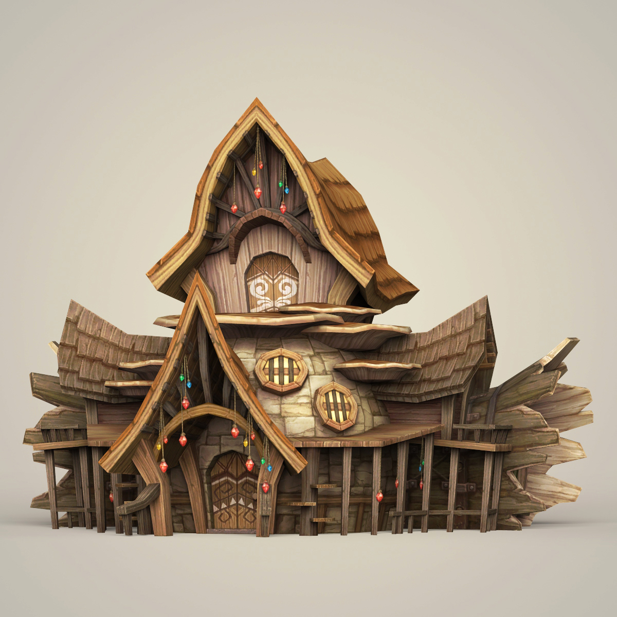 Virtual 3d Home Design Game: Game Ready Fantasy Wooden Hut By Gamingarts