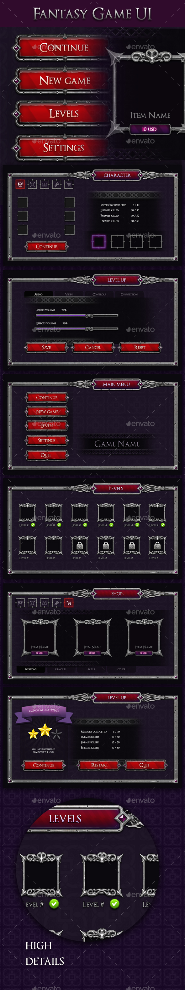 Fantasy Game UI - V1 - User Interfaces Game Assets
