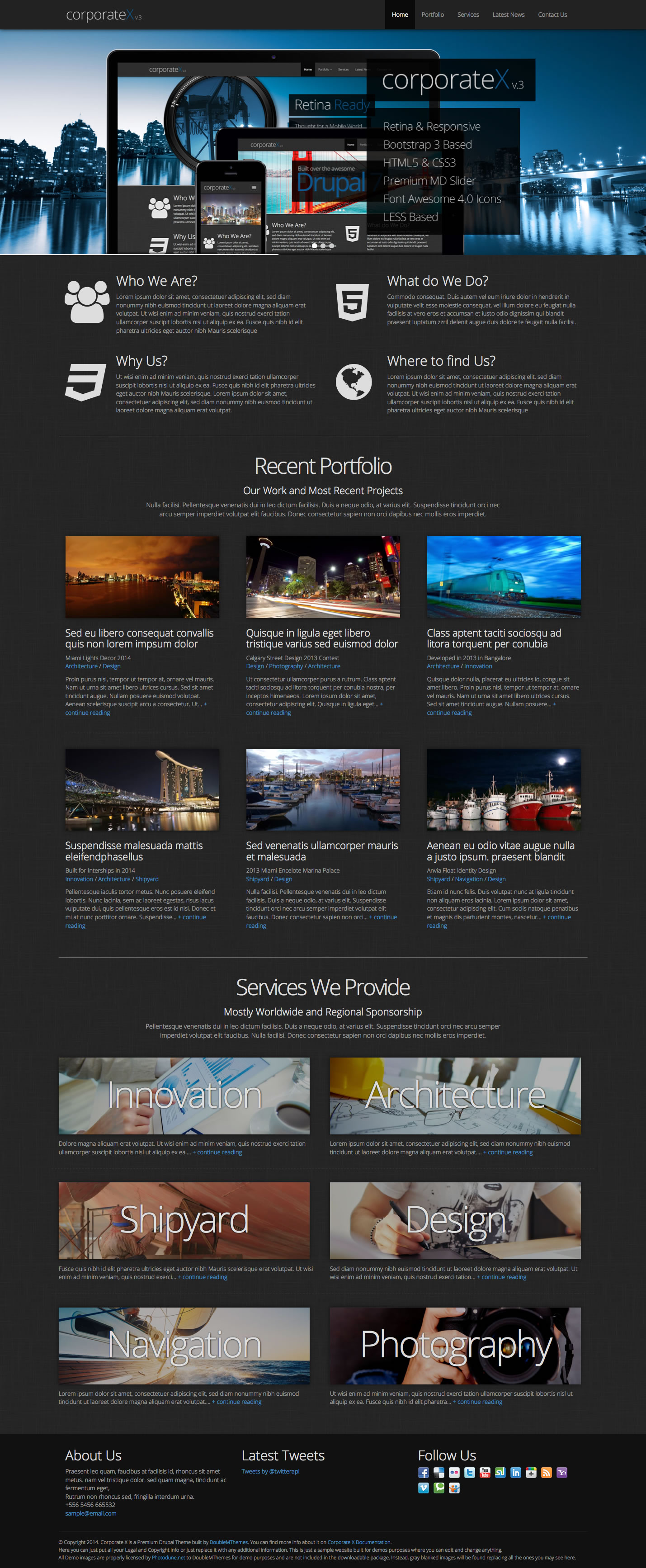 Corporate X - Bootstrap 3 Business Drupal Theme by DoubleMThemes ...