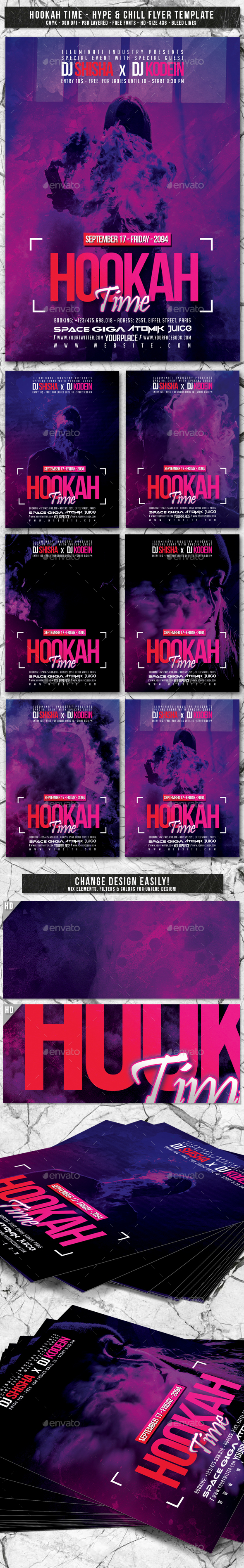 Hookah Time | 6in1 Glow Flyer PSD Template - Events Flyers
