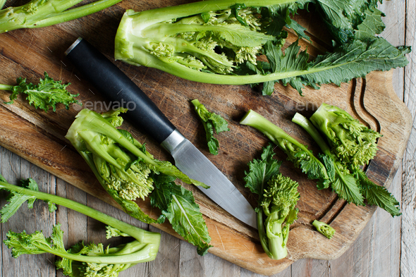 Turnip greens, Cime Di Rape from Italy - Stock Photo - Images