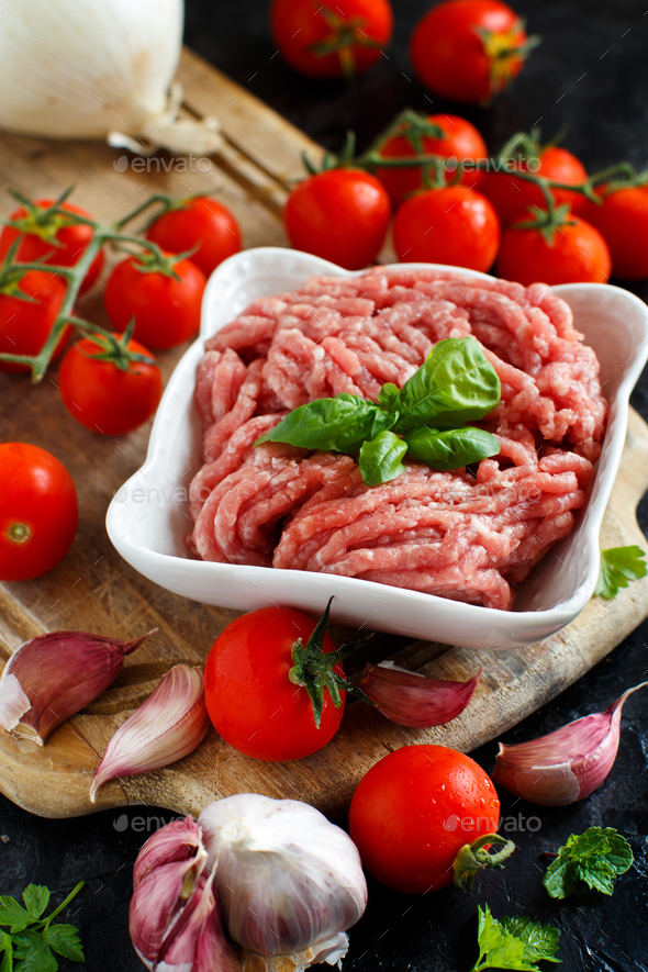 Minced meat with vegetables and spices - Stock Photo - Images