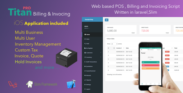 CodeCanyon Titan Billing and Invoicing POS PHP Script & iOS App 20919127